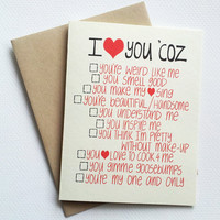 I love you card with funny list - romantic valentines day card with list of reasons - anniversary card for him for her