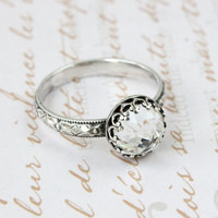 Engagement ring, promise ring, sterling silver, Swarovski crystal, 3rd or 15th wedding anniversary, vintage floral band, April birthstone