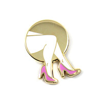 Legs Lapel Pin (White/Gold)