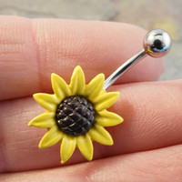 Yellow Daisy Sunflower Belly Button Jewelry Belly Ring