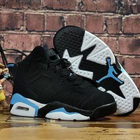 Kids Air Jordan 6 Black/Blue Sneaker Shoe Size US 11C-3Y DCCK