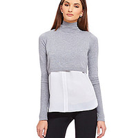 T Tahari Emily Layered Sweater - Grey Melange