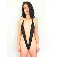 Black Extreme Micro Slingshot G-String Swimsuit (Red & Yellow available)