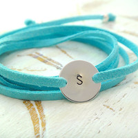 Personalized Wrap Bracelet or Necklace - Letter And Suede