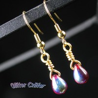 Red Glass Teardrop Earrings, Gold Plated, Iridescent Coating