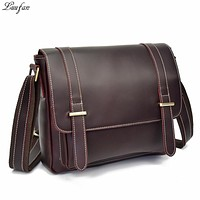High quality genuine leather men shoulder bags casual zipper messenger bag big capacity business crossbody bags for male