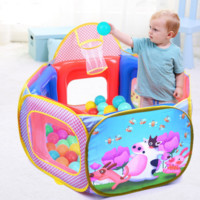 6 Panel Safety Playpen Play Center Yard Pop Up Ball Pit Play pen basketball hoop