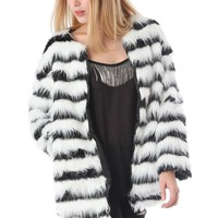 Faux fur jacket in mono stripe