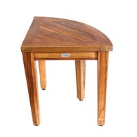 ALA TEAK Corner Teak Wood Bath Spa Shower Stool Corner Table Bench Stool Shelf Storage