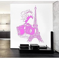 Wall Decal Paris Eiffel Tower France Camera Vintage Sexy Girl Romantic Unique Gift z2843
