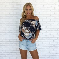 Great Lengths Floral Linen Top