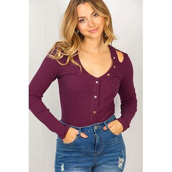 Resort Style Plum Ribbed Long Sleeve Cut Out Bodysuit