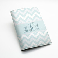 Custom Personalized chevron zigzag PU leather Passport Holder Case Cover -- chevron zig zag, custom name monogram initial, many colors