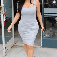 AS SEEN ON KIM KARDASHIAN - THIGHT GREY MIDI