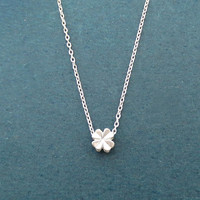 Tiniest, Clover, Silver, Necklace, Open your heart, Necklace, Birthday, Lovers, Best friends, Sister, Gift, Jewelry