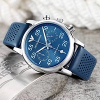 ARMANI Leather Wrist Watch Women Men Fashion Quartz Movement