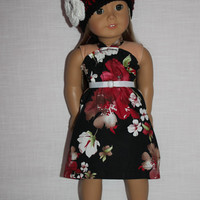 3 piece set!!  black, red, white floral halter dress, crochet hat with flower, ribbon belt, 18 inch doll clothes, American girl, maplelea