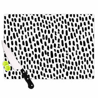 "Kess Original ""Ink Dots"" Black White Cutting Board"
