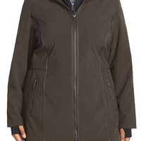 Plus Size Women's DKNYHooded Soft Shell Jacket with Inset Vest,