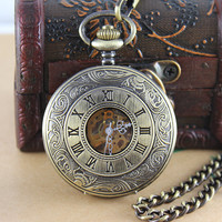Vintage brass ROMA Mechanical Pocket Watch Steampunk Style