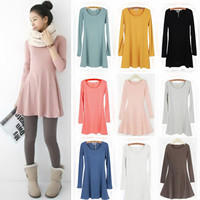 Winter solid color round neck long-sleeved cotton dress material bottoming skirt