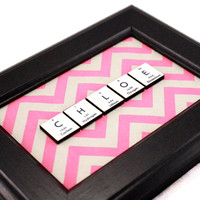 Chemistry Periodic Table Personalized Name Sign - Chevron - Minimalist Colorful Design - 5 Tiles