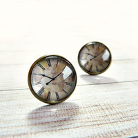 Clock earrings, Vintage style glass dome bronze posts, Watch studs, Retro old clock jewelry gift