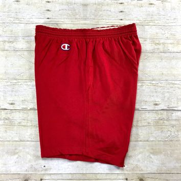 Vintage 1970s Champion Sportswear Red Gym Shorts Made in USA Mens Size Medium