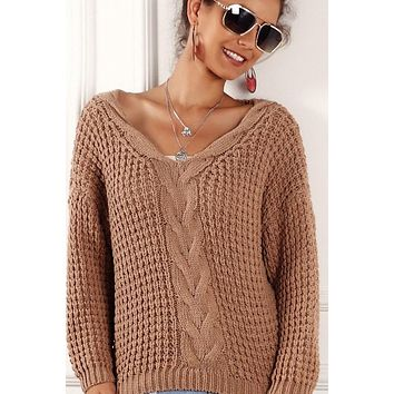 V-Neck Cable Knit Sweater - Coffee