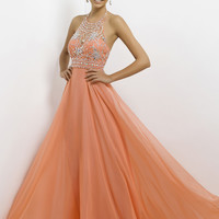 Blush Prom 9723 - Coral Pink Beaded High Neck Prom Dresses Online