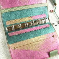 leather binder, handstitched, pink and gold metallic, shiny colorful planner, refillable notebook, pink planner, diary, for filofax inserts
