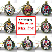 Sugar Skull Pictures Glass Cabochon Dome necklace Cross,Rose,Lock,Flower Giant Cutout Sugar Skulls Pendant  skull jewelry