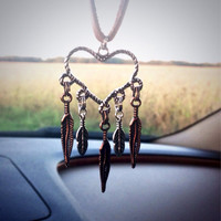 Heart Dream catcher mirror hanging rear view mirror rearview hanging dream catcher bronze silver feathers feather dream catcher country girl