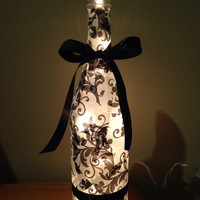 Paisley black and white wine bottle lamp