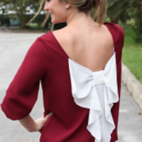 Anything Goes Bow-Back Blouse: Burgundy + White