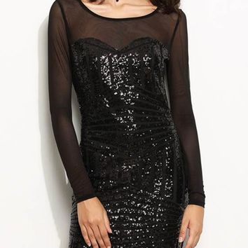 Black Patchwork Grenadine Sparkly Sequin See-through Backless Club Bodycon Mini Dress