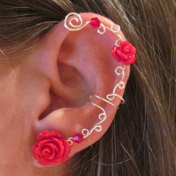 """Non Pierced Ear Cuff  """"Roses are Red"""" Cartilage Conch Cuff Silver tone and Lucite Roses Wedding Prom Quinceanera"""