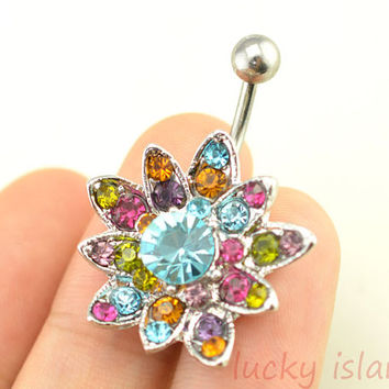 glitter flower belly button jewelry,cute flower belly button rings,fabulous navel ring,rose piercing belly ring,friendship gift