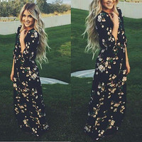 Women's Summer Chiffon Floral Dress Black Long Sleeve Bandage Boho Bodycon Party Long Maxi beach Dress
