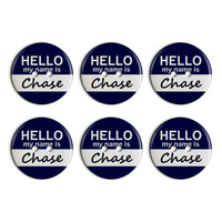 Chase Hello My Name Is Plastic Resin Button Set of 6
