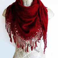 ON SALE ANGORA Burgundy Scarf Or Shawl With Fringed Lace, For Woman, Wedding, Winter Trends