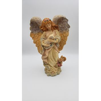 12in Resin Angel with Lamb Figurine