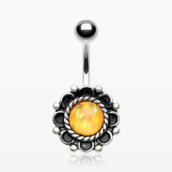Antique Floral Opal Sparkle Belly Button Ring