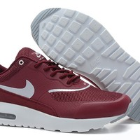 100% Original Nike Air Max Thea Men's Shoes - Wine Red/White UK Online Sale