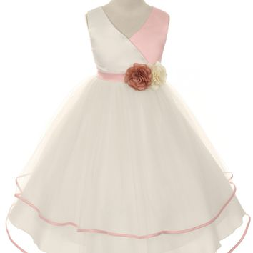Girls Rose Pink & Ivory Satin Cross Over Dress w. Tiered Tulle 2T-14