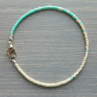 Simple + Stunning Seed Bead Friendship Bracelet // Gold + Turquoise Ombre // Stackable Bracelet // Customizable