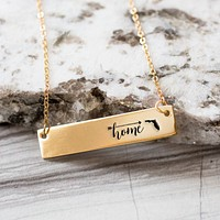 Home is Florida Gold / Silver Bar Necklace