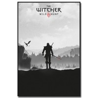 Geralt - The Witcher 3 Wild Hunt Hot Game Art Silk Fabric Poster Print 12x18 24x36inch Wall Pictures For Room Decor 010