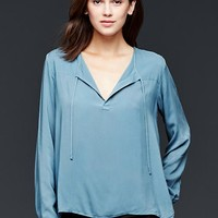 Gap Women Drapey Split Neck Top