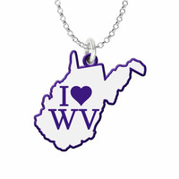 I Love West Virginia Silver State Necklace with Color Accent
